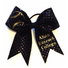 Black Sequin Softball Bow Completely Customizable Comes as shown with softball at the top left loop Bottom right is your choice. Add your name, mascot name, jersey number, etc. (Only one) Available in Gold or Silver Glitter Custom