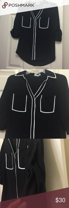 Express Portofino Shirt This blouse has been used several times. It still looks like new! This is the original fit. The sleeves can be used rolled up or as long sleeve. Express Tops Button Down Shirts
