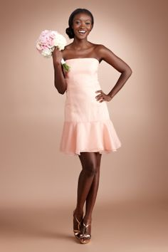 5a34dfbf72 Gorgeous organza fashions this fitted strapless drop-waist frock with a  flirty flounce. Organza