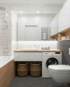 40 Modern Bathroom Vanities That Overflow With Style is part of Laundry in bathroom - No contemporary bathroom design is complete without a stylish modern vanity unit Whether you're looking for single or double vanities, we have 40 of the best Laundry Room Design, Bathroom Design Small, Laundry In Bathroom, Bathroom Layout, White Bathroom, Bathroom Interior Design, Modern Bathroom, Bathroom Vanities, Bathroom Ideas