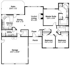 1 of my favorites-- Ranch Style House Plans - 1719 Square Foot Home , 1 Story, 3 Bedroom and 2 Bath, 2 Garage Stalls by Monster House Plans - Plan House Plans One Story, Ranch House Plans, New House Plans, Story House, Small House Plans, House Floor Plans, Monster House Plans, Facade House, House Layouts
