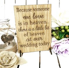 Rustic wedding ideas - in memory wedding sign for remembrance table