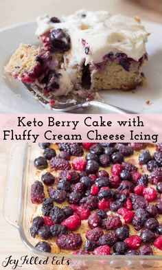 Keto Berry Cake - 5 Net Carbs - Low Carb, Sugar-Free, Gluten-Free - This Triple Berry Cake has a layer of berries hidden by a fluffy cream cheese frosting. The juice from the berries soaks into the cake under them keeping it moist and flavorful. It is grain free and THM S.