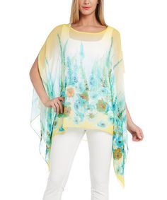 Another great find on #zulily! Yellow & Blue Floral Poncho #zulilyfinds