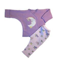 Baby Girls' Smiling Moon Two Piece Clothing Set Adorable Coming Home Outfit! 100% super soft natural cotton knit. Baby shirt opens wide in front, nothing is pulled over your baby's face! No bending ba