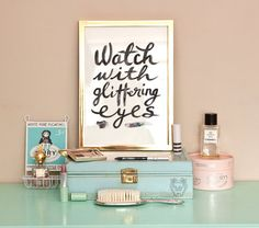 Typographic Print - Hand Lettering - Watch With Glittering Eyes - Roald Dahl Quote - Black and White - Glitter - Fashion