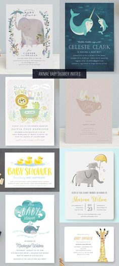 Cute Animal Baby Shower Invitations from Minted - Paper Crave Mint Baby Shower, Baby Shower Giraffe, Floral Baby Shower, Baby Shower Parties, Baby Shower Themes, Baby Party, Tea Party, Shower Ideas, Couples Baby Showers