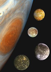 Montage of Jupiter's four Galilean moons, in a composite image comparing their sizes and the size of Jupiter. From top to bottom: Io, Europa, Ganymede, Callisto.