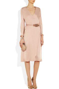 Donna Karan New York Belted Washedsatin Dress in Pink (rose) | Lyst