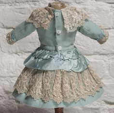 Antique French Aqua woolen Dress for Jumeau Bru Steiner Eden bebe doll from respectfulbear on Ruby Lane