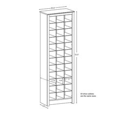 """Features:  -Material: Laminated composite wood.  -Constructed from CARB-compliant.  -Finished in white laminate.  -Assembled Dimensions 23.5""""W x 72.5"""" H x 13"""" D.  -Dimensions for each cubby 7""""W x 5.25"""