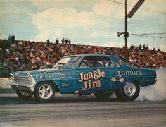 Jungle Jim Chevy II Nova Jungle Jim Liberman, Pam Hardy, 66 Nova, Lightning Aircraft, Jungle Jim's, Old Race Cars, Chevy Nova, Drag Cars, Vintage Humor