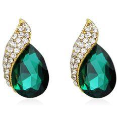 Irella - Green or Black #CZ #Diamonds Gold #StudEarrings by #LaMiaCara