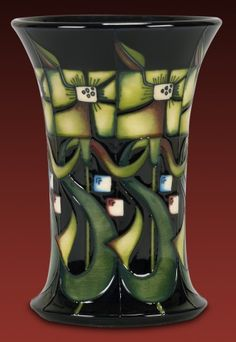 Moorcroft Pottery limited edition Blackwell, the design inspired by a William De Morgan tile c 1890's, found in the Arts & Crafts House near the shore of Lake Windermere. designer, Nicola Slaney