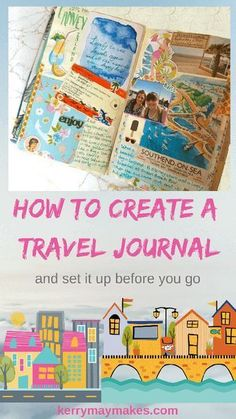 How to create a Travel Journal and how to set it up - Kerrymay.Makes scrapbook How to create a Travel Journal and how to set it up Travel Journal Pages, Travel Journal Scrapbook, Travel Journals, Travel Journal For Kids, Journaling, Creative Journal, Travel Planner, Travel Album, Bullet Journal Inspiration