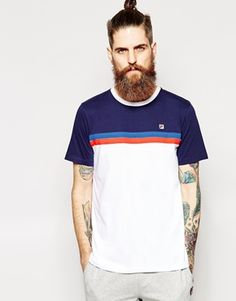 Fila+Vintage+T-Shirt+With+Chest+Stripe