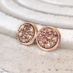 Handmade Jewelry 10mm Blush Faux Druzy Stud Earrings, Rose Gold Tone * Visit the image link more details.