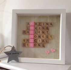 Framed Scrabble Letters | Creative DIY Mother's Day Gifts Ideas | Thoughtful Homemade Gifts for Mom. Handmade Ideas from Daughter, Son, Kids, Teens | Unique, Easy, Cheap Do It Yourself Crafts To Make for Mothers Day, complete with tutorials and instructions http://thrillbites.com/diy-mothers-day-gift-ideas #DIYArtsandCrafts