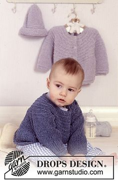 BabyDROPS - Jacket or jumper with round yoke and hat in Passion. - Free pattern by DROPS Design Baby Knitting Patterns, Knitting For Kids, Baby Patterns, Free Knitting, Knitting Projects, Knitted Baby Cardigan, Toddler Sweater, Crochet Baby Booties, Knitted Hats
