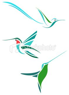 ink me -- design | stylized hummingbirds vector