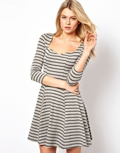 ASOS Skater Dress With Sweetheart Neck In Stripe Print.