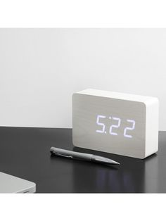 Gingko Brick LED Vækkeur Hvid (Hvid LED)