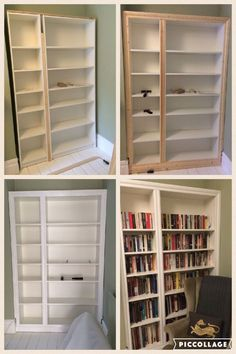 IKEA hack Billy bookcase modified to look like built in alcove shelving IKEA hack Billy bookcase m Ikea Hack Bedroom, Closet Bedroom, Diy Bedroom Decor, Kids Bedroom, Master Bedroom, Library Bedroom, Bedroom Curtains, Design Bedroom, Bed Design