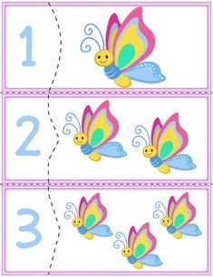 Teach counting skills with butterflies! Great for teaching counting skills and number recognition for numbers . Toddler Learning Activities, Learning Resources, Book Activities, Counting Puzzles, Math Centers, Learning Centers, Teaching Phonics, Tot School, Preschool Activities