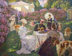 Evening tea in the garden Russian Painting, Russian Art, Garden Painting, Garden Art, Painting Gallery, Art Gallery, Tea Art, Victorian Art, Paintings I Love