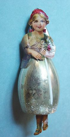 Vintage Christmas Glass Tree Ornament ... Girl with Scrap Face.