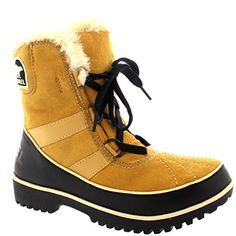 Womens Sorel Tivolli Ii Winter Waterproof Fur Boots Snow Lace Up Rain - Wheat - 5 *** You can get additional details at the image link.