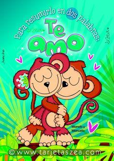 Palabras del corazón-tarjeta de amor-Mono Manolo Abrazando a la mona Manuela © ZEA www.tarjetaszea.com Luigi, Princess Peach, Happy, Fictional Characters, Bb, Happiness, Quotes, Decor, Bow Braid