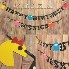 Pac-Man/Arcade themed birthday banner by CraftsOnKinzie on Etsy