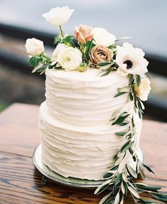"2,095 Likes, 17 Comments - Snippet & Ink (@snippetandink) on Instagram: ""Sometimes simplicity is all you need for a wedding cake and we're crushing on this two-tier rustic…"""