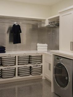 40 Inspiring Laundry Room Design Ideas that Will Make You Impressed modern farmhouse laundry room with laundry room organization, laundry room storage, neutral laundry room with open shelves Laundry Room Tile, Tiny Laundry Rooms, Laundry Room Remodel, Laundry Room Cabinets, Laundry Room Storage, Small Laundry, Storage Room, Closet Storage, Room Organization