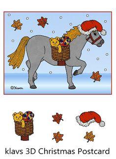 Karens Kravlenisser. Cut-outs and Colouring Pages. : Klavs 3-D Christmas Horse Postcard to Print in Colours. Klavs 3-D jule heste postkort til at printe i farver.
