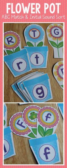 Interactive flower ABC match and beginning sound sort - spring literacy activities for preschool, pre-k, kindergarten