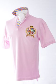 Our classic-fitting short-sleeved polo in breathable cotton interlock, finished with captivating Robert Owen Collection signature patch and embroidery.  Color: Pink  Collar: (Multiple Colored Stripes)   Two-button concealed twill placket,contrasting twill collar. Collar topside has fashionable print similarities of placket. Our embroidered International Crest accents the left chest. Accompanied by matching handkerchief. 100% cotton. Machine washable. Imported.  $70.00