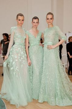 mint bridesmaids elie sharp Seafoam Color, Bridesmaid Dresses, Wedding Dresses, Backstage, Elie Saab, Spring, Formal Dresses, Bellydance, Fashion