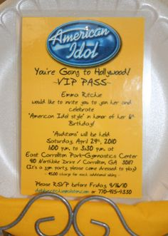 Invitations For American Idol Party