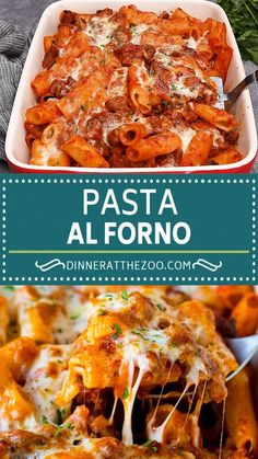 This Pasta al Forno is rigatoni in a hearty meat sauce topped with cheese and baked to perfection. Rigatoni Recipes, Manicotti Recipe, Best Pasta Recipes, Chicken Pasta Recipes, Easy Dinner Recipes, Beef Recipes, Cooking Recipes, Al Forno Recipe, Instant Pot Pasta Recipe