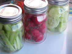 store veggies in mason jars. keeps them fresh longer. easier to grab them for a snack.