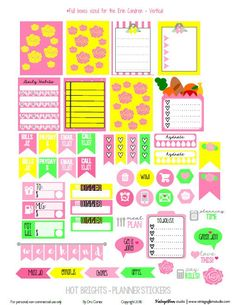 Free Hot Brights Planner Stickers from VIntage Glam Studio