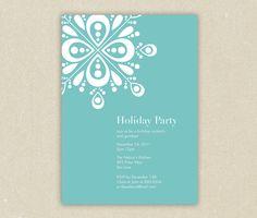Modern Showflake Christmas, Winter or Holiday Party Invitation Printable. $15.00, via Etsy.