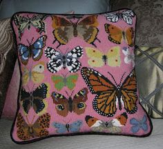 Butterfly needlepoint pillow - LOVE.