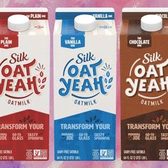 Silk Launches New Vegan Oat Milk Range In 3 Flavors at Walmart and Target Ooh Yes Yay! Go Vegan Choose Vegan Vegan Bodybuilder Beast Mode Dairy Milk Silk, Vegan Milk, Milk Packaging, Dairy Packaging, How To Become Vegan, Milk Alternatives, Protein Blend, Plant Based Milk, Oatmeal