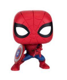 Funko Pop Avengers Endgame Infinity War Spiderman with Captain America Shield Funko Pop Marvel, Funko Pop Spiderman, Civil War Spiderman, Spiderman Pop, Funko Pop Figures, Pop Vinyl Figures, Dibujos Toy Story, Funko Pop Anime, Funko Pop Dolls