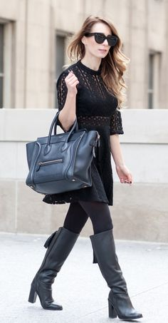 Celine Mini Luggage Tote in stunning midnight blue now available at www.lovethatbag.ca
