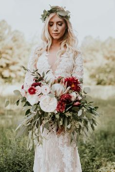 Gorgeous bride in red from this charming Southern wedding | Image by  Vic Bonvicini