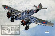 """Great Britain's WWII Long-Range Bristol """"Beaufighter."""" This cutaway poster partially reads, """"Powered by two Bristol """"Hercules III"""" radial motors producing a total of 2800 h.p., the Bristol 'Beaufighte"""